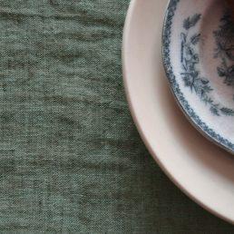 hørdug BREEZE agave grøn melange i vasket hør