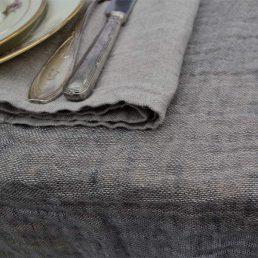 hørdug i vasket hørvoile natur-grå melange
