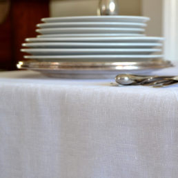 linen tablecloth white damask