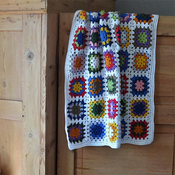 Crochet granny square Blanket | White