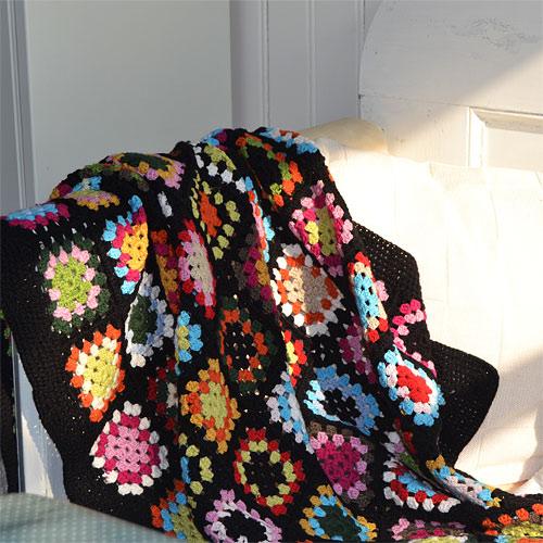 Crochet Granny Square Blanket Black for cottage or children room