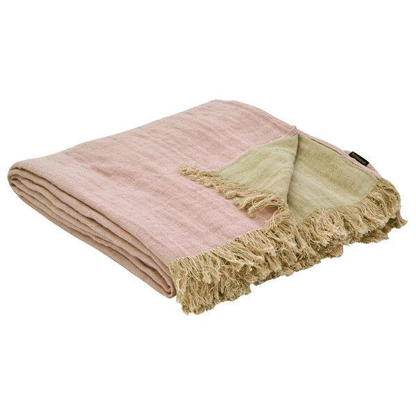 plaid tæppe i hør, gammelrosa