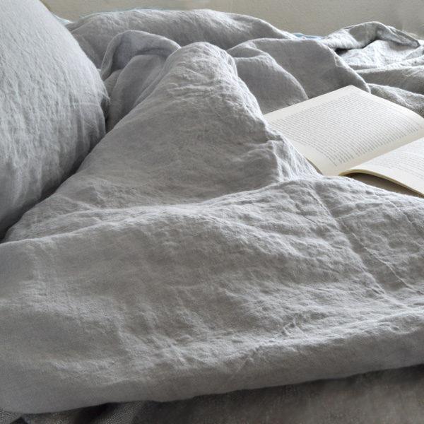 hør sengetøj i vasket hør