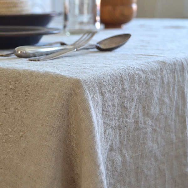 Linen tablecloth pre washed