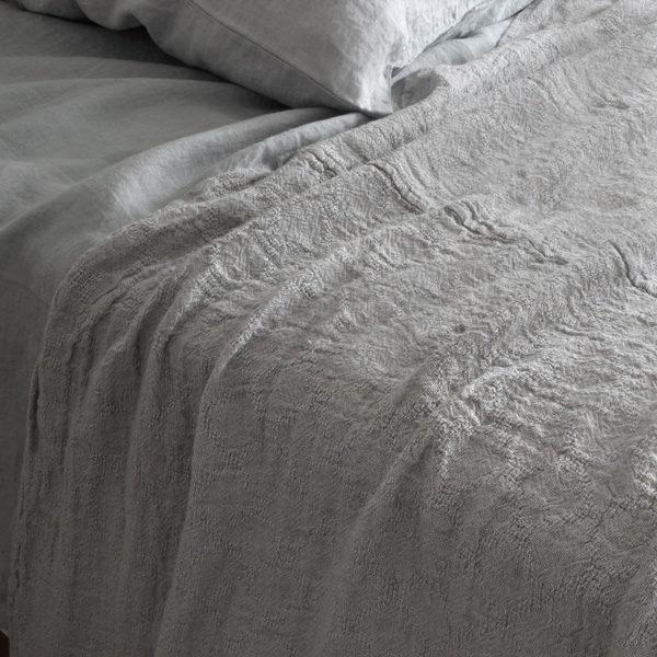 washed linen bedspread