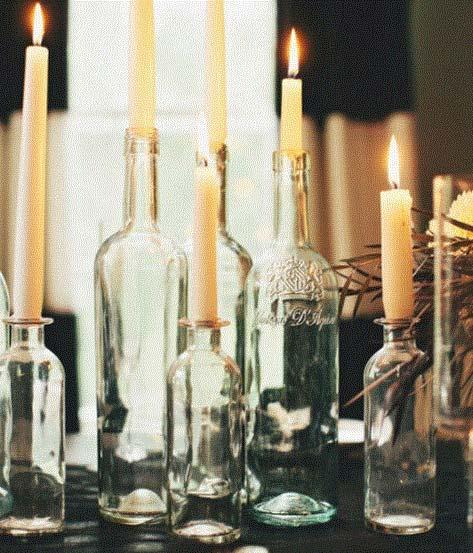 vinflasker til stearinlys