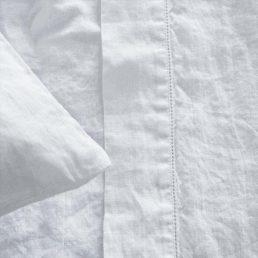 hør sengetæppe hvid