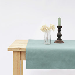 Linen Table Runner Aquamarin