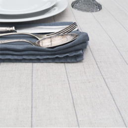 Linen tablecloth with stripes