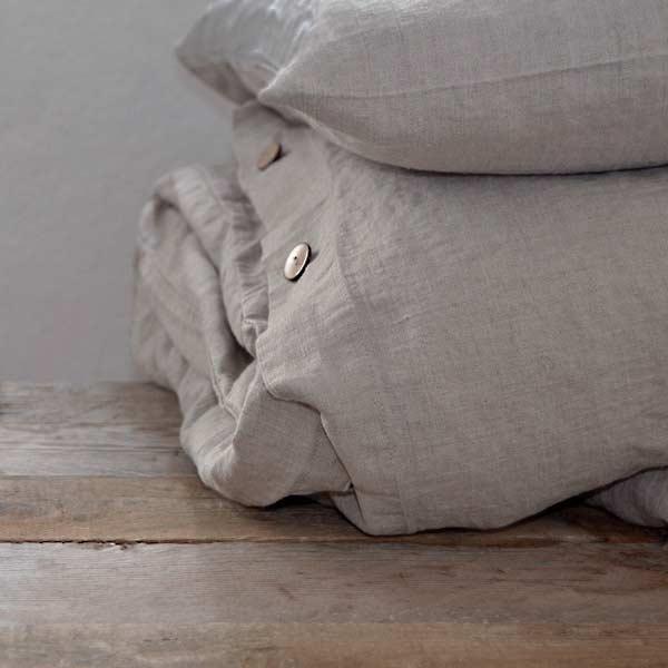 sengesæt vasket hør natur