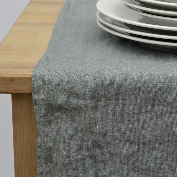 bordløber vasket hør grå