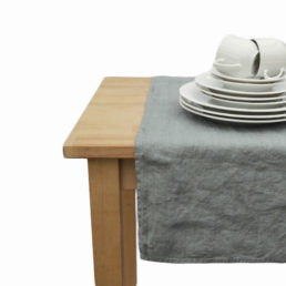 grey linen table runner