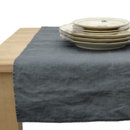 Dark Grey linen table runner