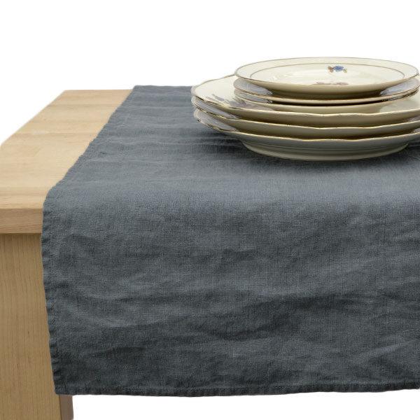 bordløber vasket hør mørkegrå