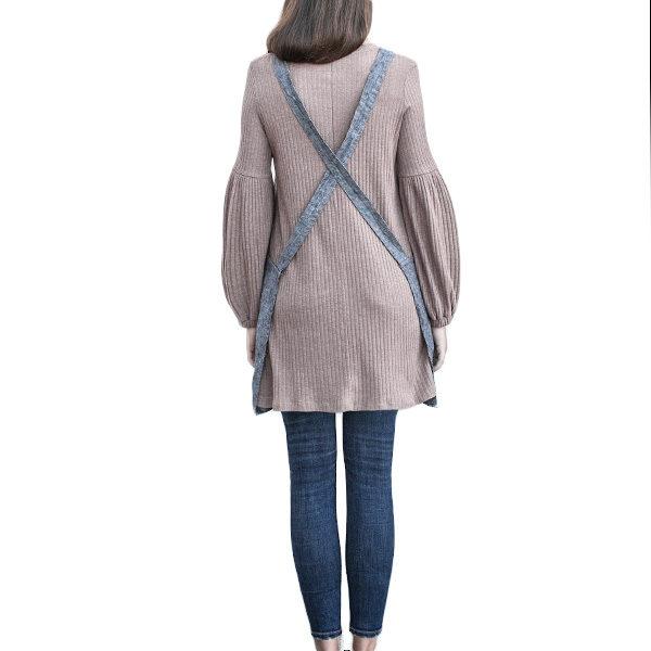 Cross Back Short linen apron