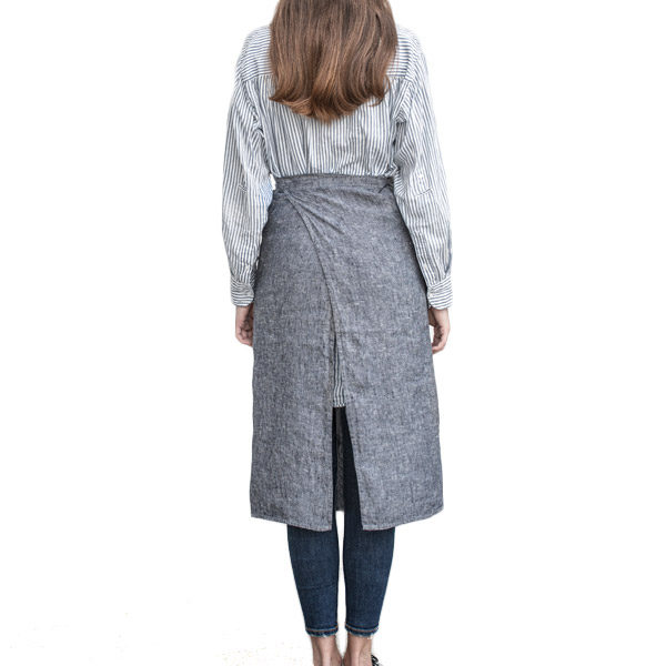Long wrap linen apron