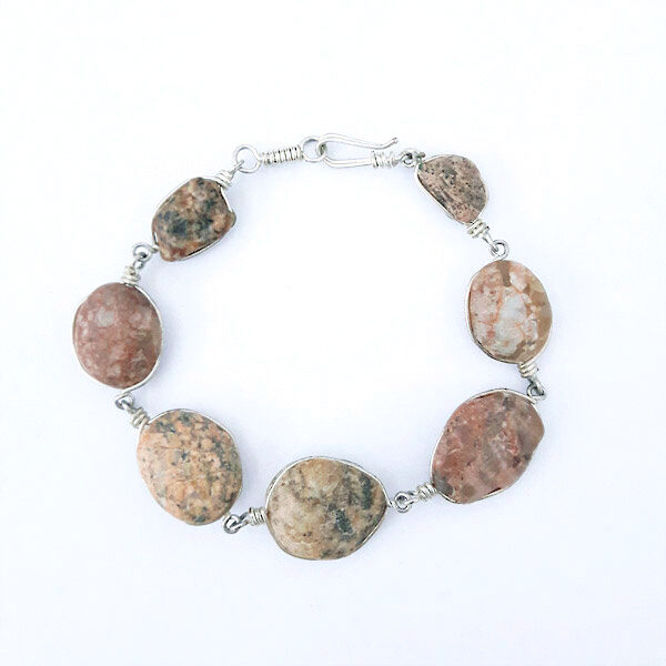 armbånd Rødlig-Brune sten