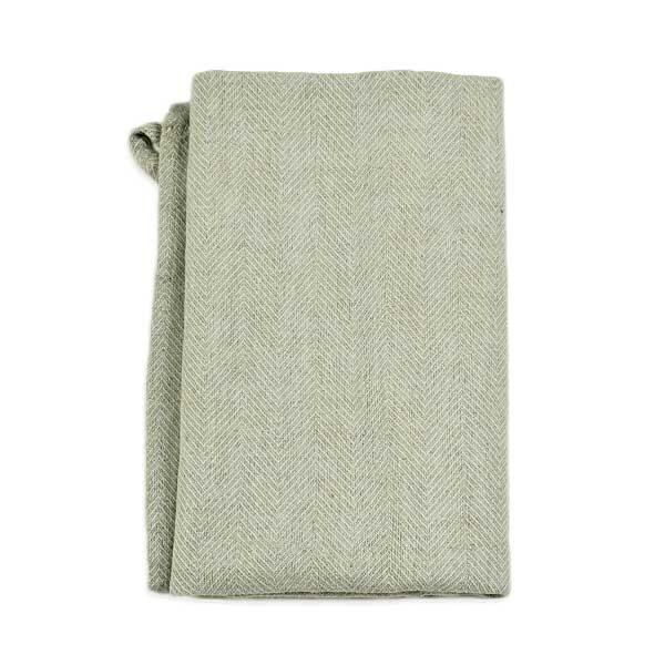 hørhåndklæde sildeben støvet grøn