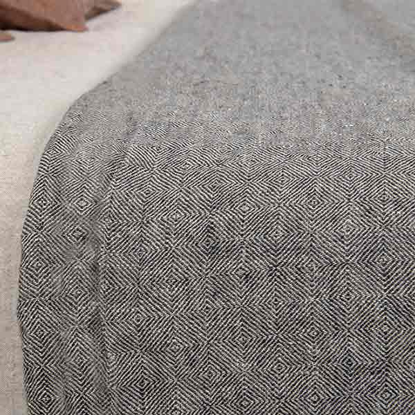sengetæppe i hør | grå