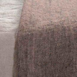 sengetæppe i hør mocca brun